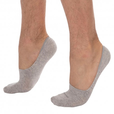 Calvin Klein Lot de 2 Paires de Chaussettes Invisibles Luca Gris Clair - Anthracite