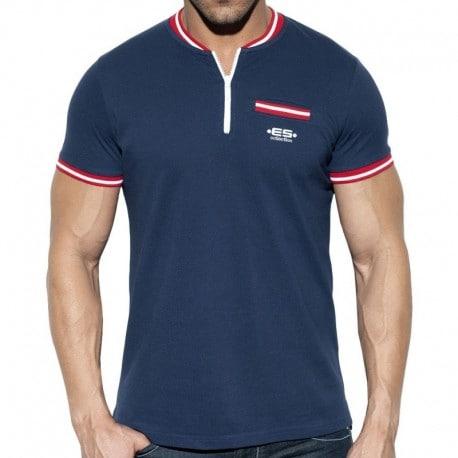 ES Collection T-Shirt Zip Mao Marine