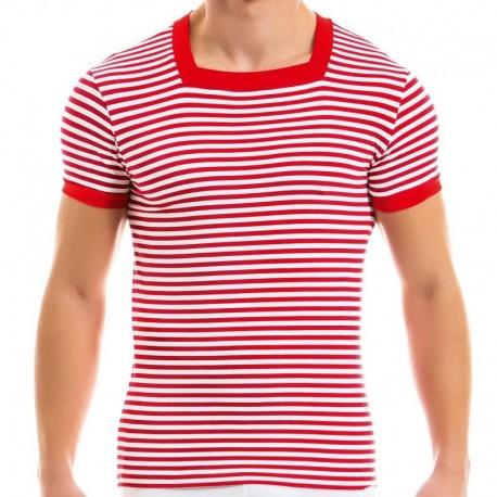 Modus Vivendi T-Shirt Col Carré Marine Rouge
