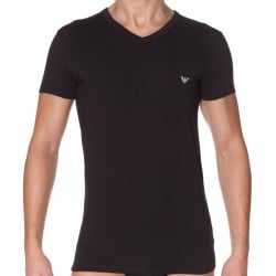 T-Shirt Eagle Stretch Cotton Noir Emporio Armani