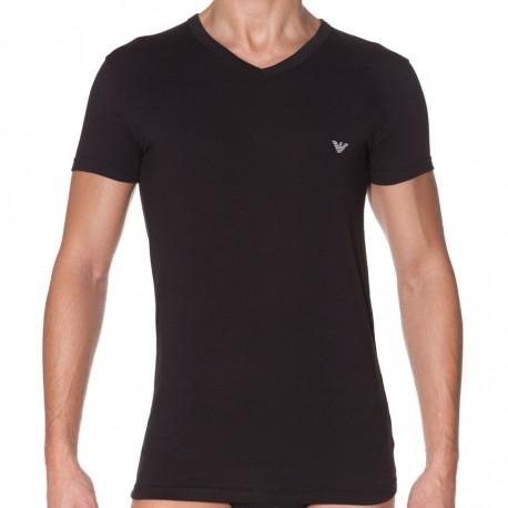 T-Shirt Eagle Stretch Cotton Noir