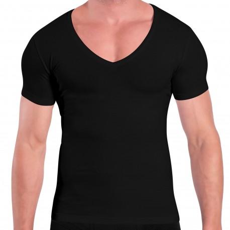 Rounderbum T-Shirt Deep V Coton Compression Noir
