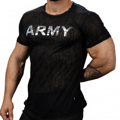 Andrew Christian T-Shirt Burnout Glam Army Noir