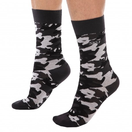 SKU Camo Cotton Dress Socks - Grey