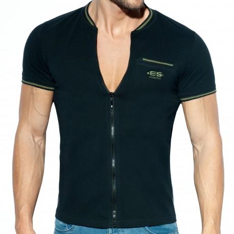 ES Collection T-Shirt Full Zip Mao Noir