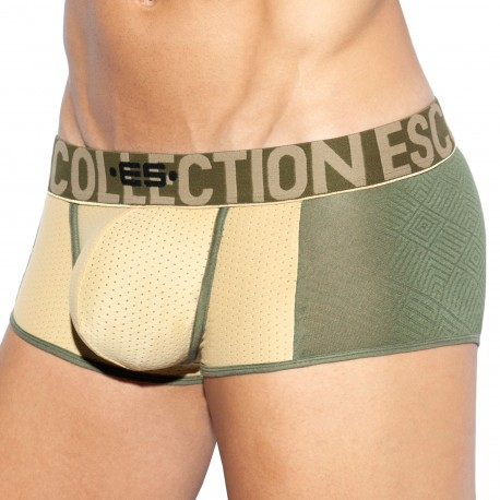 ES Collection Rustic Mesh Trunks - Khaki - Gold