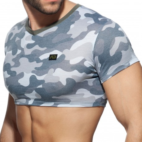Addicted T-Shirt Crop Washed Camo Gris