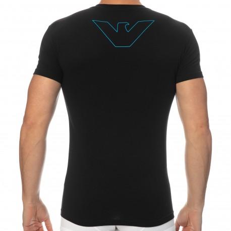 Emporio Armani Thin Eagle Cotton T-Shirt - Black