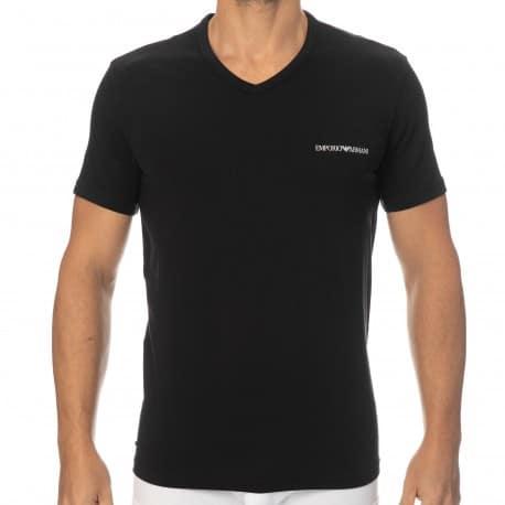 Emporio Armani T-Shirt Col V Core Logoband Coton Noir