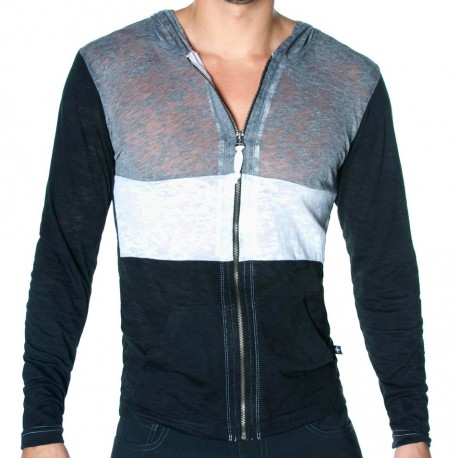 T-Shirt Skinny Core Zuma Hoodie Noir - Gris