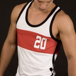 Débardeur Athletic Ringer 20 Blanc - Rouge Barcode