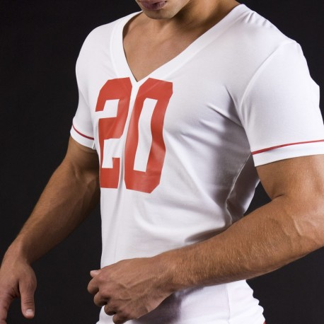 T-Shirt V Neck Berlin 20 Blanc - Rouge