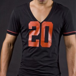 T-Shirt V Neck Berlin 20 Noir - Rouge Barcode