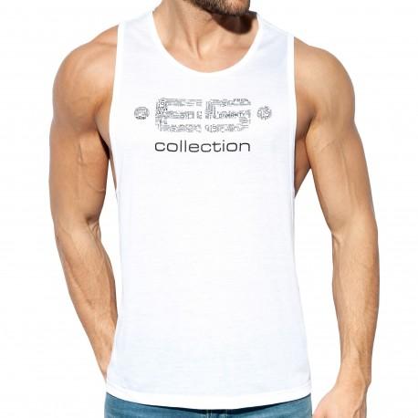 ES Collection Débardeur Echancré Logo Blanc