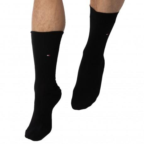 Tommy Hilfiger Lot de 2 Paires de Chaussettes Classiques Coton Noires