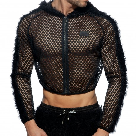 Addicted C-Through Mesh Crop Jacket - Black