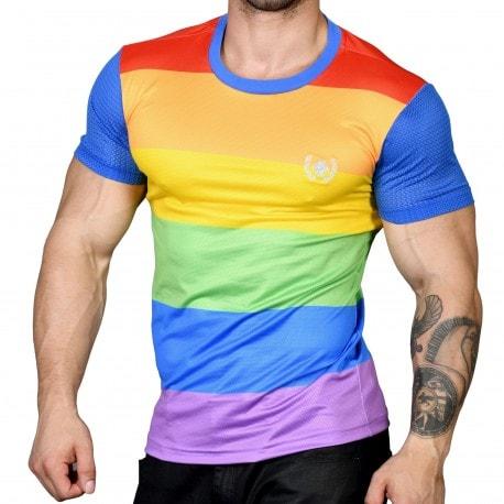 Andrew Christian T-Shirt Mesh Ultra Pride Arc-en-Ciel