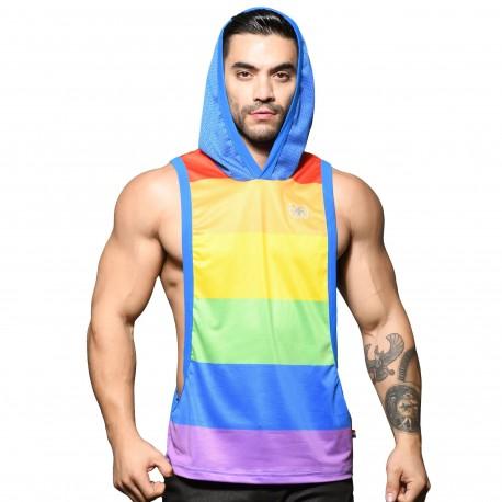 Andrew Christian Débardeur Gym Hoodie Mesh Ultra Pride Arc-en-Ciel