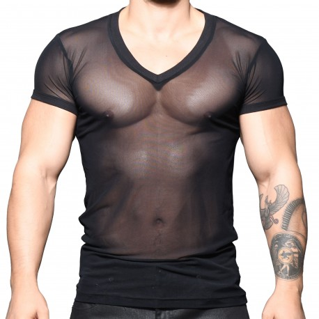 Andrew Christian T-Shirt Col V Sexy Sheer Noir