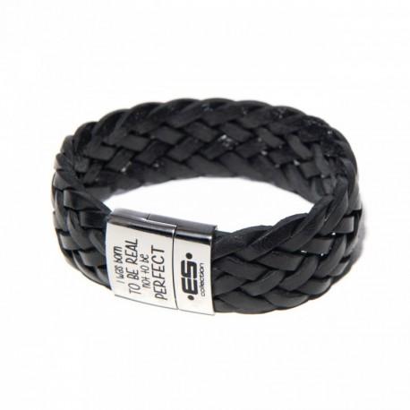 ES Collection Bracelet Cuir Tressé Noir