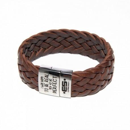 ES Collection Bracelet Cuir Tressé Marron
