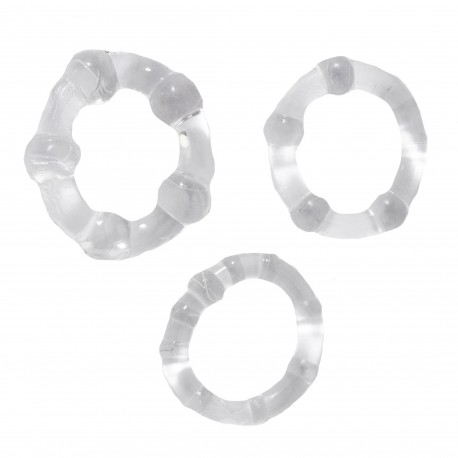 Orion 3-Pack Transparent Cockrings with Balls