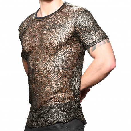 Andrew Christian T-Shirt Mesh El Dorado Noir - Or