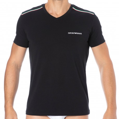 Emporio Armani T-Shirt Col V Italian Flag Coton Noir
