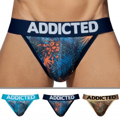 Addicted Lot de 3 Slips Tanga Mesh Tropical