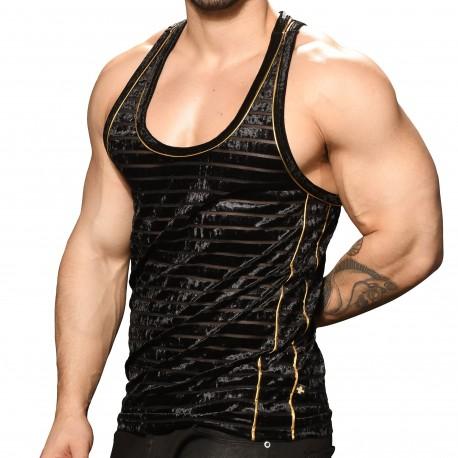 Andrew Christian Débardeur Plush Sheer Stripe Noir