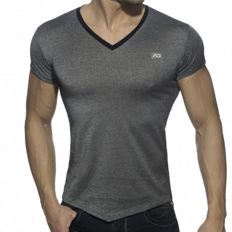 Addicted Mini Stripes T-Shirt - Black - Silver