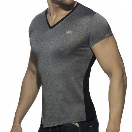 Addicted T-Shirt Mini Stripes Noir - Argent