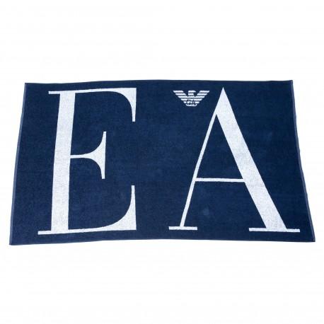 Emporio Armani Drap de Bain Eponge Big Logo Bleu Marine