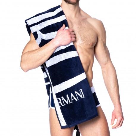 Emporio Armani Drap de Bain Eponge Logo Bleu Marine
