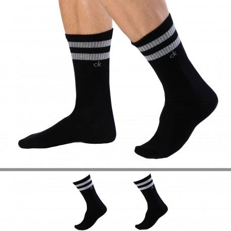 Calvin Klein Lot de 2 Paires de Chaussettes Sport Maurice Noires