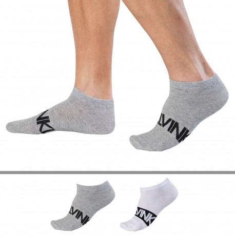 Calvin Klein Lot de 2 Paires de Socquettes Dirk - Blanc - Gris
