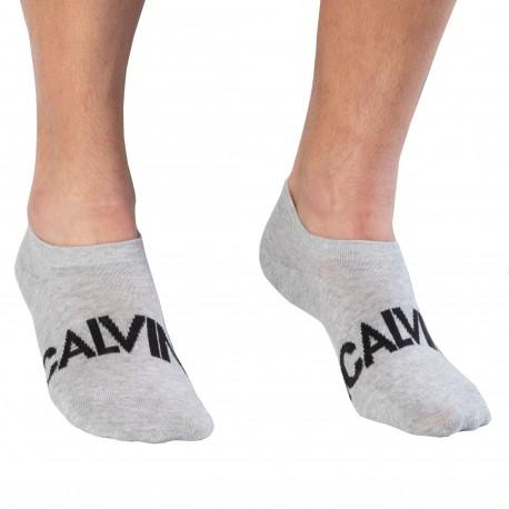 Calvin Klein Lot de 2 Paires de Chaussettes Invisibles Devin - Blanc - Gris