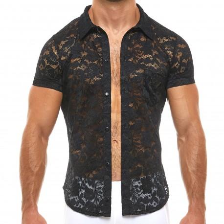 Modus Vivendi Floral Lace Shirt - Black