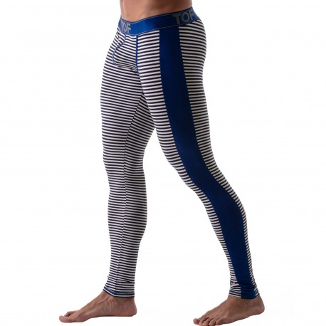 TOF Paris Striped Leggings with Push Up - Navy - Blue