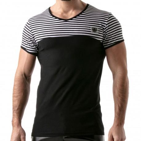TOF Paris T-Shirt Rayé Noir