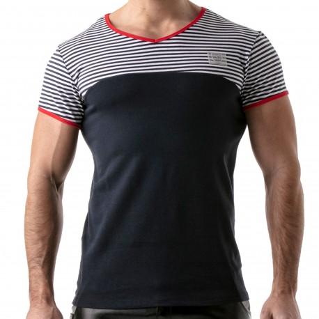 TOF Paris T-Shirt Rayé Bleu Marine - Rouge