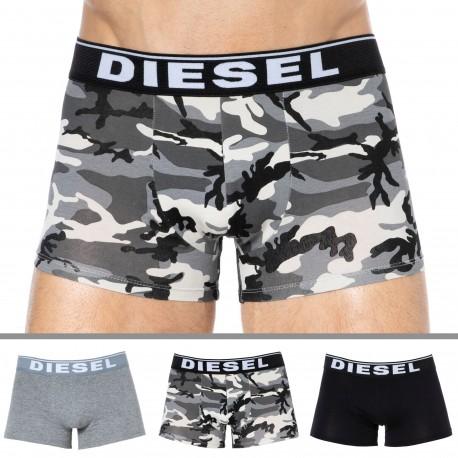 Diesel Lot de 3 Boxers Coton Camouflage Gris - Noir