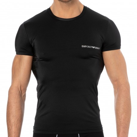 Emporio Armani Shiny Microfiber T-Shirt - Black