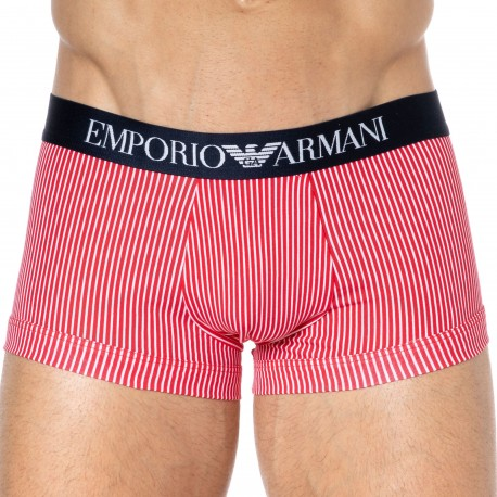 Emporio Armani Boxer Classic Pattern Coton Rayé Rouge