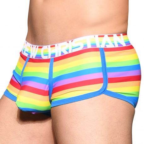 Andrew Christian Almost Naked Pride Stripe Trunks - Rainbow