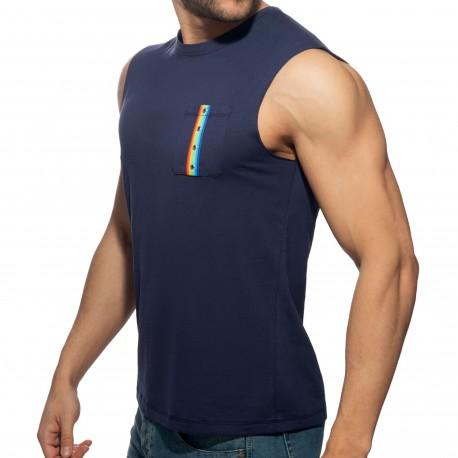 Addicted Débardeur Rainbow Tape Bleu Marine