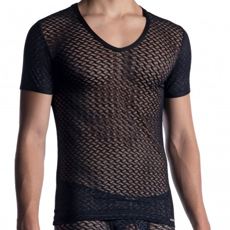 Manstore T-Shirt Col V M2053 Noir