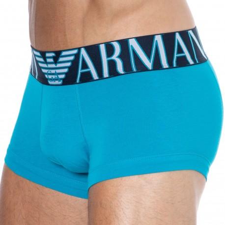 Emporio Armani Boxer Megalogo Coton Bleu Océan