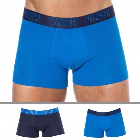 Puma Lot de 2 Boxers Basic Coton Marine - Bleu
