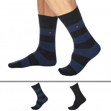 Tommy Hilfiger Lot de 2 Paires de Chaussettes Basses Bleu Marine - Larges Rayures